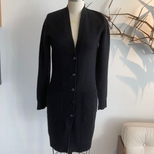 Chanel long black cashmere cardigan size 36